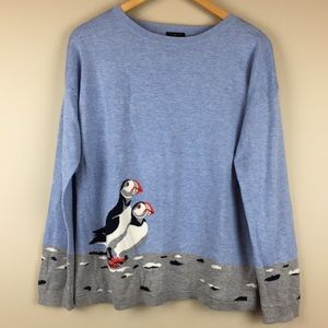 Talbots Sweater Long Sleeve Crewneck Puffin Whimsy